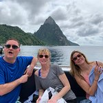 Not our best pic... but look beyond to the Pitons. :)