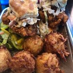 Nashville Hot Chicken Biscuit with House-Made Tater Tots