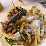 Bison burger with truffle fries and parmesan cheese