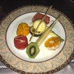 Selection of Seasonal fresh fruit and tropical sorbet