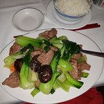Sliced Beef with Mushrooms and vegetables. Beautifully simple and fresh. The mushrooms were so n