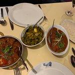 Chicken Achari, Chicken Karahi, Okra and plain rice