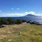 View of St. Kitts and Nevis from south side of Statia.  The peaceful feeling sitting out on this point was incredible.  Atlantic on left, Caribbean on right.