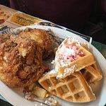 Chicken & Waffles (strawberry butter) 😋