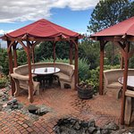 Quirky tiered outdoor dining