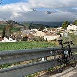 Descent into Montecorto. Grazaleman in distance hidden in late-January clouds.