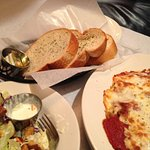 Baked spaghetti, vienna bread, side salad -- all very good.