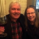 Me and Cynthia toasting a great meal at Branch Line