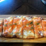 Smoked salmon flatbread ($14) is a filling selection.