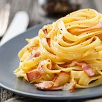 Tagliatelle carbonara - pasta ribbons, bacon, cream and cheese. Great comfort food !