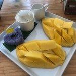 Mango sticky rice with coconut ice cream