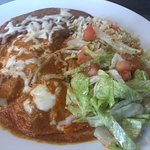 Shrimp Enchilada with red garlic sauce from special menu