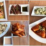 prawns, flank steak, calamari, sandbar fries, sword fish and the famous zucchini carpaccio