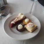Red velvet cheesecake, lemon square and assorted tarts