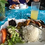 My meal, casado, a tradicional Costa Rican dish; delicious and included the drink.