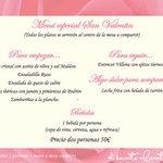 Menu especial San Valentin restaurante Alicante