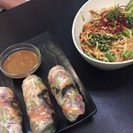 veggies wraps and some sort of noodle bowl!