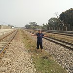 A traveler from Malaysia was posing in the middle of railway!