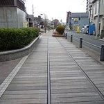 線路が残された、遊歩道