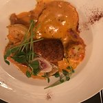 Pasta special - four cheese ravioli with jumbo shrimp and panko crusted chicken stuffed with bri