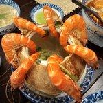 Iconic dish, Tôm hấp nước dừa (Poached prawns in coconut juice)