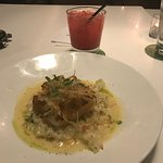 Seared Atlantic Cod with Chili & Brown Sugar Crust with Apple & Goat Cheese Risotto along with a