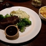 Rump Steak with Broccoli and mash with leeks in it and side portion chunky chips