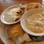 Biscuits and gravy with grits