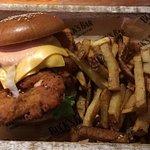 Chicken burger & fries