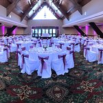 The beautiful Kon Tiki Room set up for a wedding. Vibrant Purple LED lights provided by Becks Entertainment