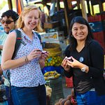 Jenny and Emely in the local market from La Antigua Guatemala.