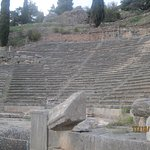 The theatre dates from the 4th c BC, and could accommodate 5,000 spectators. It was built to host musical contests at the Pythian Games, held at Delphi from 590 BC on.
