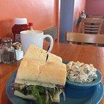Latte, Loaded Veggie Sandwich, Potato Salad