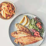 Dover sole with fresh lemon, golden cripsy fries and salad