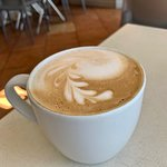My wife loved her creamy latte with added hazelnut syrup.