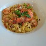 Garlic and chilli king prawn taglietelle, gorgeous