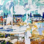 """""""Delray Beach Florida"""" 36x48 Christian Bergeron Painting Sold at Art on Duval Gallery, Key West."""