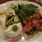 """Salad"" which had Caprese (tomatoe and mozzarella), artichokes with pine nuts, a wonderful brush"