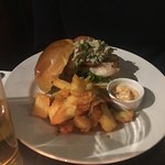 Chicken burger and chunky chips