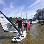 Barton teaching a windsurfing lesson right behind the Sail Shop. His 30 years of teaching experience combined with user friendly gear makes your first time windsurfing worlds easier. Though it still takes some practice!
