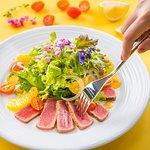 SEARED TUNA SALAD - with orange, fennel, cherry tomatoes, orange vinaigrette and jalapeno-lime tequila salt.