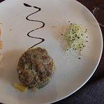 Terrine de lapin au foie gras et son chutney.