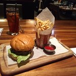 Burger and Fries- I love Shoe String Fries. love the presentation as well.