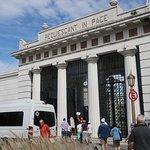 "Main gate of Cementerio de la Recoleta with big sign ""Requiescat in Pace"" (""Rest in Peace"")"