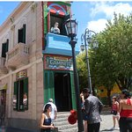 La Boca's interesting building with a human figure on the balcony