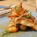 Pan-fried cod with garlic prawns