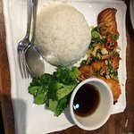 Fried salmon with plain rice