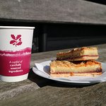 A hot drink and cake at Horsey Windpump