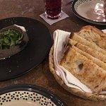 Bean hummus and delicious bread.