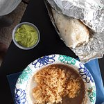 Barbacoa burrito, side of rice and beans, and side of guacamole!